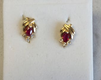 14kt Yellow Gold Lady's Diamond and Marquise Ruby Earrings at a Very Affordable Price.