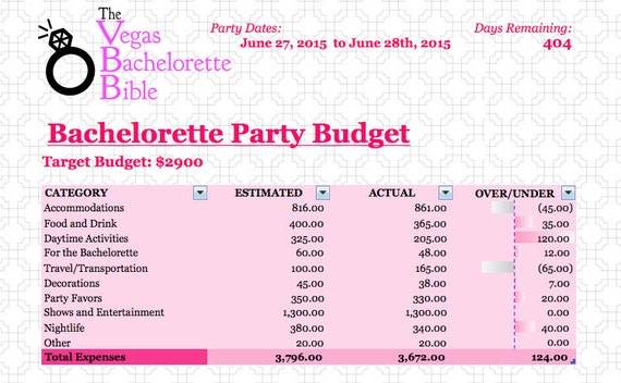 party budget spreadsheet