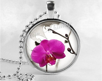 PHALAENOPSIS ORCHID Necklace, Flower Pendant, Flower Jewelry Glass Art Pendant Charm, Purple Orchid, Moth Orchid Gift for Gardener Botanical