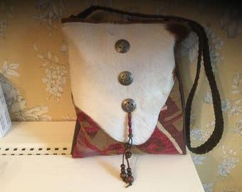 Hair on hide and handwoven Kilim messenger cross body bag