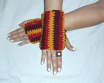 Arm Warmers Fingerless Gloves Orchard Harvest Gloves Handmade Crochet Texting Gloves Fall Autumn Stripes Red gold cranberry Crocheted Rustic