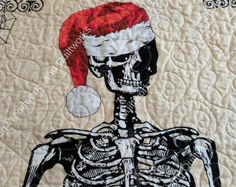 Santa Skeleton Wall Quilt. Quilted Door Banner with Hanging Pocket, Seasonal Wall Art, Christmas to Halloween Quilted Wall Hanging