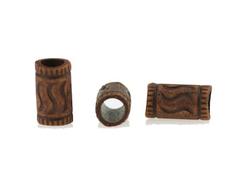 4 Dreadlock bead tube tribal boho bohemian woodland