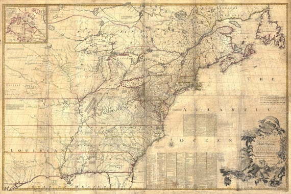 Giant Historic 1757 wall Map of British French Colonial map North America OLD map of New England Coast Restoration Decor Style map Print