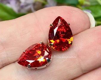Padparadscha Orange CZ, 14x10mm Pear, Faceted Gemstone, Your Choice Silver or Gold Plated Sew On Setting, Jewelry Supply, Sunset Orange