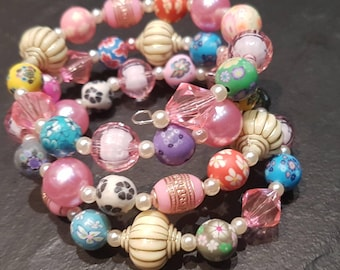 Chunky beaded wire cuff bracelet