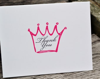 Thank You Note Cards - Princess Thank You Notes - Princess Note Cards - Stationery Set - Set of Note Cards - Girls Crown Stationery Set