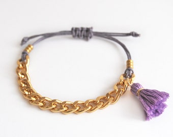 Violet bracelet with chunky chain, lilac tassel bracelet for stacking or layering