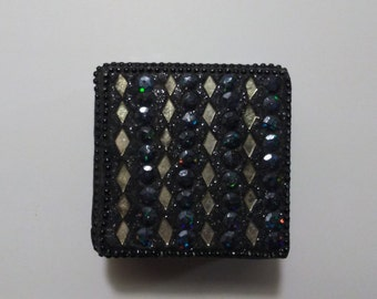 Trinket Box Black and Gemstone Little Jewelry Box Vintage Box