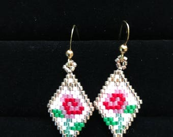 Pink Rose Brick Stitch Beaded Earrings