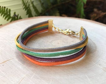 Multi-color Suede Cord Cuff Bracelet