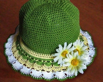 Crochet Girl Hat Patterns Instant Download with Diagram and Written Instruction (in English)
