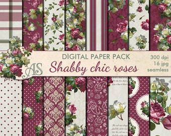 Digital Shabby Chic Roses Seamless Paper Pack, 16 printable Scrapbooking papers, retro roses Digital Collage, Instant Download, set 179