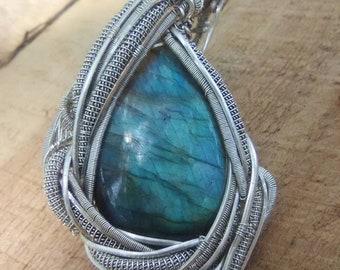 Heady Labradorite Wire Wrap Pendant   Flashy Blue Labradorite Sterling Silver Talisman   Wire Wrapped Labradorite