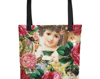 little girl victorian collage Tote bag