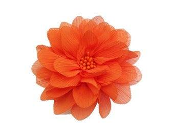"Orange Chiffon Flower. 4"" Orange Chiffon Flower. 1 Piece. ISLA Collection."