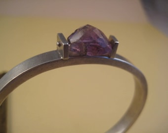Brushed sterling bangle with Amethyst
