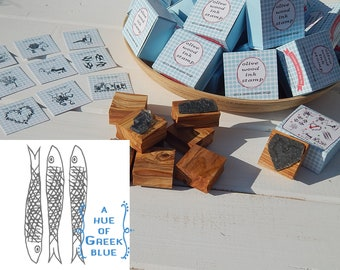 Greece Inspired Olive Wood Stamp in Box - Greek Sardines