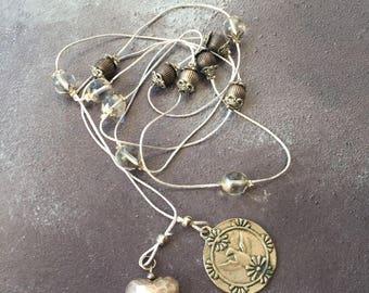 Silver Beaded Tie Necklace