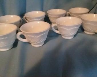 set of 8 Indiana milk glass tea cups, pebble leaf,  leaf motif, milk  glass, tea cups
