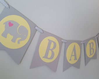 elephant baby shower - elephant favors - elephant banner - elephant decorations - elephant party - elephant garland - elephant yellow