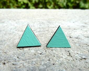 Geometric Earrings // Triangle Wood Earrings // Mint Earrings // Aqua Earrings // Simple Earrings