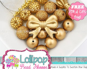 All Gold Beads DIY Chunky Necklace Kit Bows Rhinestone Pearl Glitter Starter Kit Make It Yourself Chunky Bead Kit Bubblegum Beads NBK26