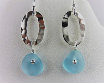 Aqua sea glass earrings on sterling silver hammered rings by Monterey Bay Seaglass