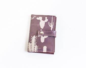 Passport Wallet- Cactus Print on Lavender Leather