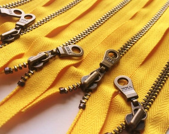 Metal Teeth Zippers- YKK Antique Brass Donut Pull Number 4.5s- 506 Sunflower Yellow- 5pcs- Available in 5 and 12 Inches