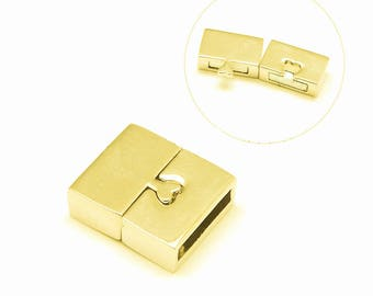 1 x magnetic locker 18x16mm Light Gold Cuff Bracelet