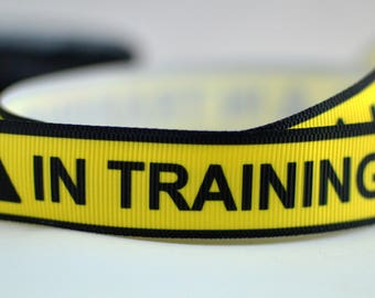 """In Training Yellow Black Tape Caution Dog Pet Grosgrain Ribbon 7/8 """" Wide Scrapbooking HairBows Parties  AZ92617"""
