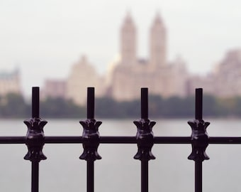 New York City photography, New York art print, NYC wrought iron wall art, fence decor, Manhattan skyline Upper West Side wall decor picture