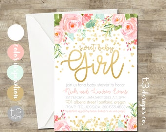 Professionally printed stationery and invite by t3designsco gold confetti baby shower invitation girl baby shower invitation girl baby shower invite filmwisefo