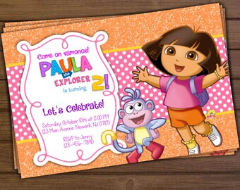 Dora invitations etsy dora the explorer invitation dora the explorer birthday invitation dora invitation filmwisefo