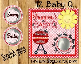 BBQ scratch off cards BabyQ shower Game Baby Q Baby shower Scratch off game Favors Scratch tags Baby shower game ideas 12 Precut