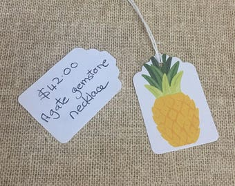 12 Large Price Tags with yellow pineapples. Handmade from card stock, string made of 100% cotton. Shop supplies.