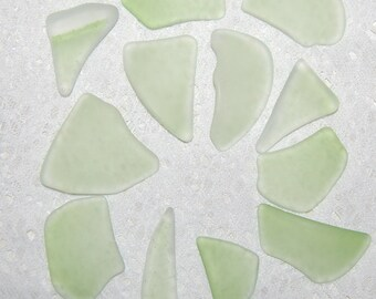 Faux Sea Glass - yellow lime green - 12 undrilled pieces
