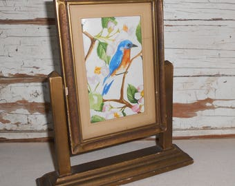 Vintage Swivel Wood Picture Frame, Art Deco Swing Frame, Table Top Picture Frame