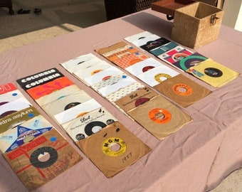 Vintage 45 RPM records, 38 total,  in wooden carrying case , see titles in description