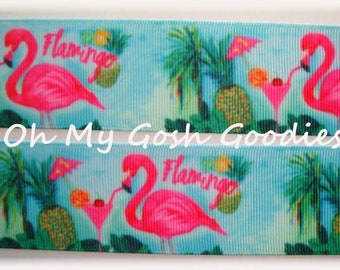 "BLUE FLIRTY FLAMINGO Designer Grosgrain Ribbon -  1.5"" - 3"" - 5 Yards - Oh My Gosh Goodies Ribbon"