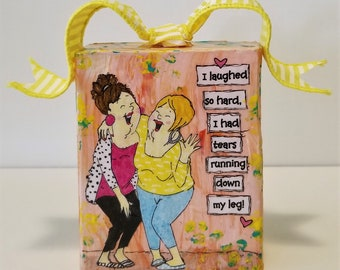 Girlfriend Gift - Best Friend Gift - Bestie Gift - Mixed Media Art Block - Wood Art Block - Mixed Media Collage Art - Ready to Ship - Gifts