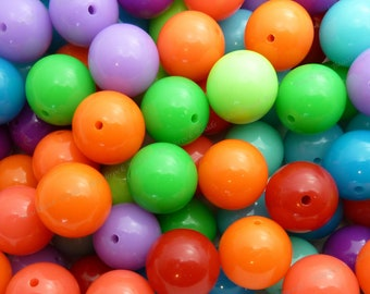 20mm Chunky Bubblegum Beads - Bulk 30pcs - Chunky Gumball Beads, Candy Color Beads, Assorted Colors, Round Acrylic Beads - BR1-6