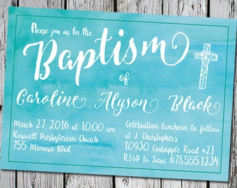 Baptism invitation baby dedication christening invite watercolor aqua blue cross script font printable 5x7 print at home printer ready party