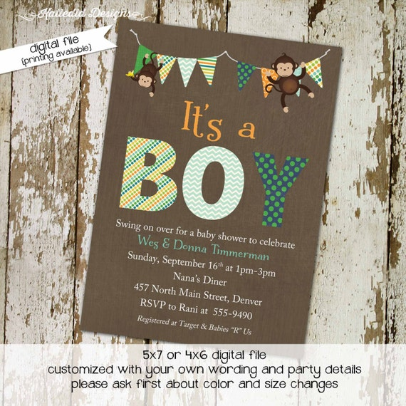 jungle baby shower invitation monkey safari boy couples coed sprinkle sip see bunting banner birthday baptism brunch | 1291 Katiedid Designs