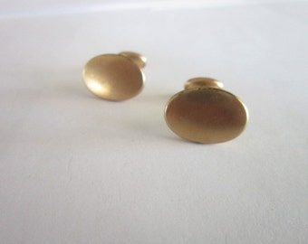 Antique Gold Clad Oval Mens Cuff Links