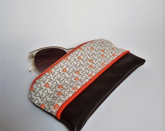 Chocolate brown faux leather glasses case and cotton tulips / sunglasses case