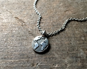 World Map Necklace, Earth Necklace, Planet Earth Necklace, Planet Necklace Silver Earth Necklace Globe Necklace Globes Unique Christmas Gift