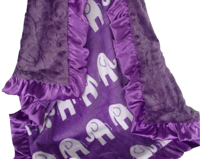 Personalized Purple Elephant Minky Baby Blanket, Purple Elephant Jungle Print Baby Blanket