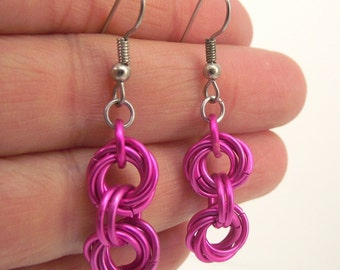 Pink Chainmaille Earrings, Aluminum Earrings, Pink Earrings, Chainmail Jewelry, Gift under 20
